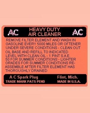 DE-10, 1937-47 Oil Bath Air Cleaner (All) (Water Transfer) - $5.00 ...